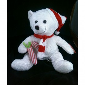 """Cuddly Cousins Plush Holiday 10"""" Teddy Bear White With Striped Red/White Hat Scarf Candycane"""