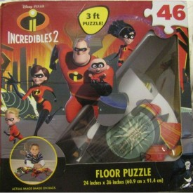 "Disney Pixar Incredibles II 3' Floor Puzzle 24"" X 36"" CARDINAL 46 PIECES"