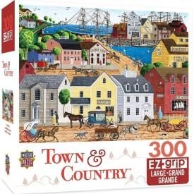 MasterPieces Town & Country Home Port Ocean Pier Large EZ Grip Jigsaw Puzzle by Art Poulin, 300-Piece