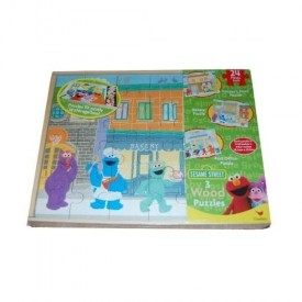 Sesame Street 3 Pack Wooden Puzzles in Wood Storage Box by Cardinal