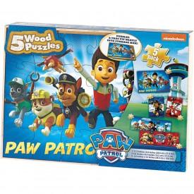Paw Patrol Kids 5-Pack Puzzle Set In Wood Storage Box