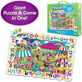 """The Learning Journey Puzzle Doubles - Find It! ABC - 50 Piece Puzzle - Toys & Gifts for Boys & Girls Ages 3 and Up, 24"""" H x 36"""" W x 0.08"""" D"""