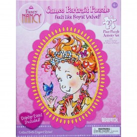 Fancy Nancy Cameo Portrait Puzzle Butterflies 20 Piece Royal Velvet Puzzle Activity Set with Display Easel
