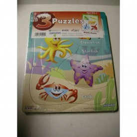 3 Pack, Pre-school Puzzles - Sea Creatures/Colors/Get Dressed