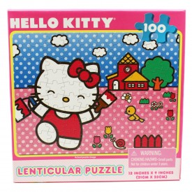 Hello Kitty Painting Her Home Lenticular (Hologram) Kids Puzzle (100pc)