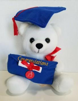 "Graduation White Musical Bear with Money Holder ""Congratulations"" Blue Cap, Red Tassel 10-inch"
