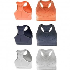 Crivit New Fitness Ladies Pack of 1 Gym Yoga Running Sports Bra Natural Evolution Size Large 46/48 (Orange)