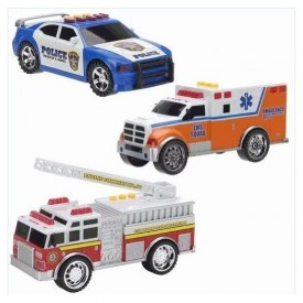 Fast Lane Emergency Vehicles - Police Car, Fire Engine, and Ambulance (3 Pack)