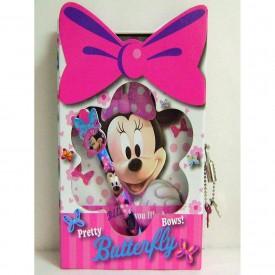 Disney Minnie Mouse Bowtique Notebook, Journal & Pen Set w / Die Cut window and Lock & Key