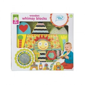 ALEX Toys Wooden Whimsy Blocks, Set of 15 in Fun Shapes