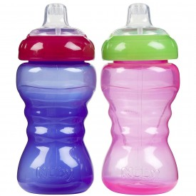 Nuby Easy Grip No Spill Sipper Soft Spout - Girl - 10 oz - 2 ct