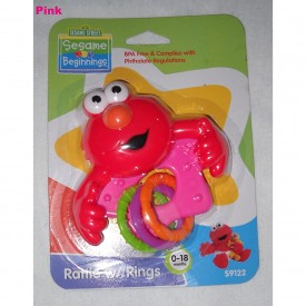 Sesame Street Elmo Rattle with Rings - Pink, BPA Free