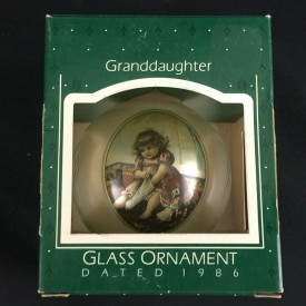 Vintage 1986 Glass Christmas Ornament Hallmark Keepsake Granddaughter QX2736