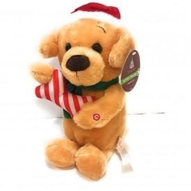 "Enchanted Forest Animated Plush 12"" Plush Dog in Santa Hat with Bone Singing Jingle Bells While chomping Bone"