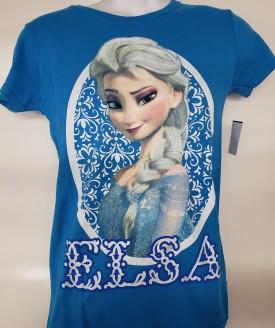 Disney Frozen Elsa Graphic Short Sleeve T-Shirt Adult Size Small Blue