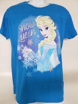 Disney Frozen Elsa Snow Queen Graphic Short Sleeve T-Shirt Adult Size Large Blue