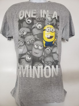 Despicable Me2 One In A Minion Graphic Short Sleeve T-shirt Adult Size Large Gray