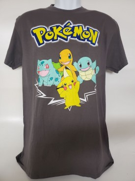 Pokémon Pikachu & Friends Graphic Short Sleeve T-shirt Adult Size Medium Grey