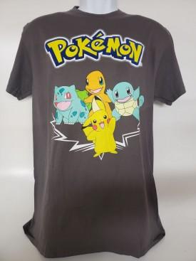 Pokémon Pikachu & Friends Graphic Short Sleeve T-shirt Adult Size Large Grey