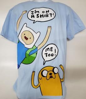 Cartoon Network Adventure Time Graphic Short Sleeve T-shirt Adult Size Large Light Blue