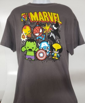 Kids Marvel Heroes Graphic Short Sleeve T-shirt Adult Size Large 42/44 Grey