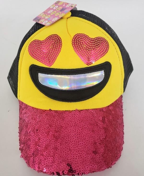 Emoji Heart Eyes Pink Sparkle Girls Baseball Cap Hat Snapback Yellow/Black