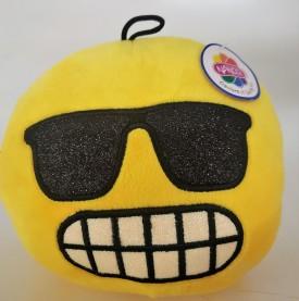 "Nanco Smiley Face Plush Emoji Sunglass Teeth 6"" Yellow"