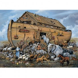 Bits and Pieces - 500 Piece Jigsaw Puzzle for Adults - Noah's Ark - 500 pc Boat and Animals Jigsaw by Artist Ruane Manning