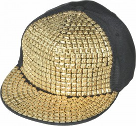 Gold Studded Hip Hop Hat Adult One Size Black Flat Brim Hat Covered Gold Studs