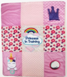 """Born Loved Baby Interactive Blanket 30"""" x 40"""" With Teething Ring Princess in Training"""