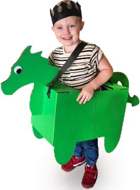 Donny The Dragon Cardboard Costume - Fun Family DIY Art Project for Boys   Kids Pretend Play Toy - Kid Size Ages 3 and up