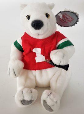 1997 Collectible Coca-Cola Brand Bean Bag Plush - Polar Bear In #1 Sport Shirt