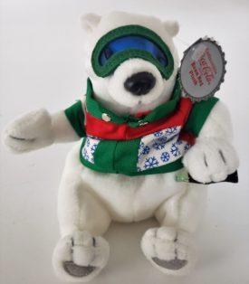 1997 Collectible Coca-Cola Brand Bean Bag Plush - Polar Bear In Ski Googles