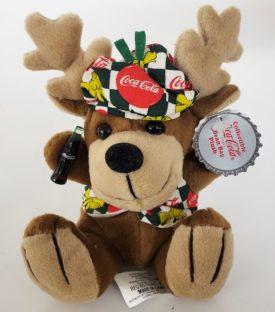 1998 Collectible Coca-Cola Brand Bean Bag Plush - Reindeer In Festive Coca-Cola Vest & Hat