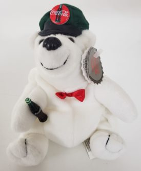 1997 Collectible Coca-Cola Brand Bean Bag Plush - Polar Bear Soda Jerk