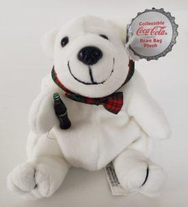 1997 Collectible Coca-Cola Brand Bean Bag Plush - Polar Bear Plaid Bow