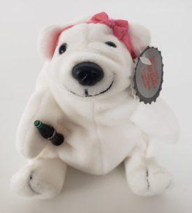 1997 Collectible Coca-Cola Brand Bean Bag Plush - Girl Polar Bear Pink Bow