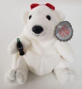 1997 Collectible Coca-Cola Brand Bean Bag Plush - Girl Polar Bear Red Bow