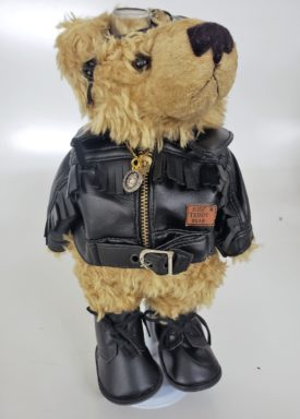 """10"""" Genuine Handmade Teddy Bear Biker With Patch By Pieces of History"""