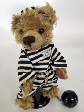 """10"""" Genuine Handmade Teddy Bear Prisoner Ball & Chain Black White Striped Prison Outfit By Pieces of History"""