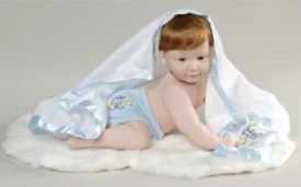 """Vintage 1994 The Ashton-Drake Galleries Barely Yours """"Snug As Q Bug In A Rug"""" Baby Boy Porcelain Doll"""