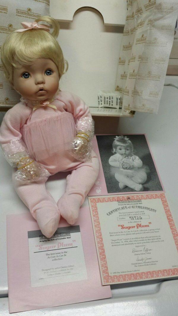 """Vintage 1994 The Ashton-Drake Galleries As Cute As Cute Can Be """"Sugar Plum"""" Girl Porcelain Doll 10"""""""