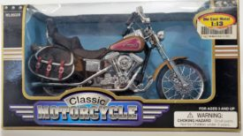 Classic Motorcycle V-Twin Gold Metallic Tank Saddlebags Die Cast Metal 1:13 Scale