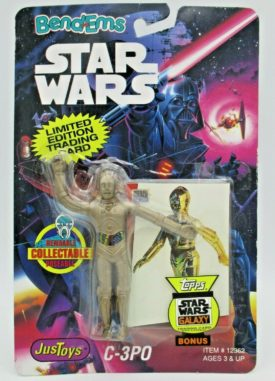 1993 JusToys Star Wars BendEms C-3PO #12362 Poseable Action Figure with Card