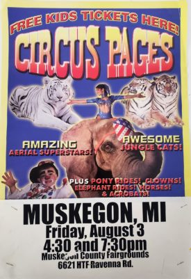 Original Vintage Retro Circus Poster - Circus Pages Feat. Jungle Cats Muskegon, MI