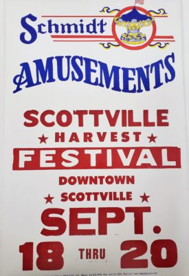 Original Retro Circus Poster - Schmidt Amusements Scottville Harvest Festival