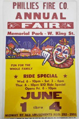 Original Vintage Retro Circus Poster - Phillies Fire Co. Annual Fair Memorial Park AEB Amusements