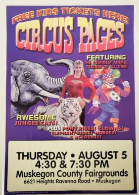 Original Vintage Retro Circus Poster - Circus Pages Feat. Youngest Animal Trainer Muskegon, MI