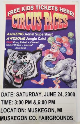 Original Retro Circus Poster - Circus Pages Feat. Aerial Superstars Muskegon County Fairgrounds