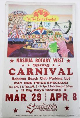Original Vintage Retro Circus Poster - Nashua Rotary West Spring Carnival Bahama Beach Club Smokey's Greater Shows